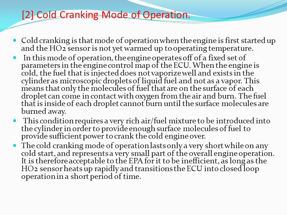 [2] Cold Cranking Mode of Operation.